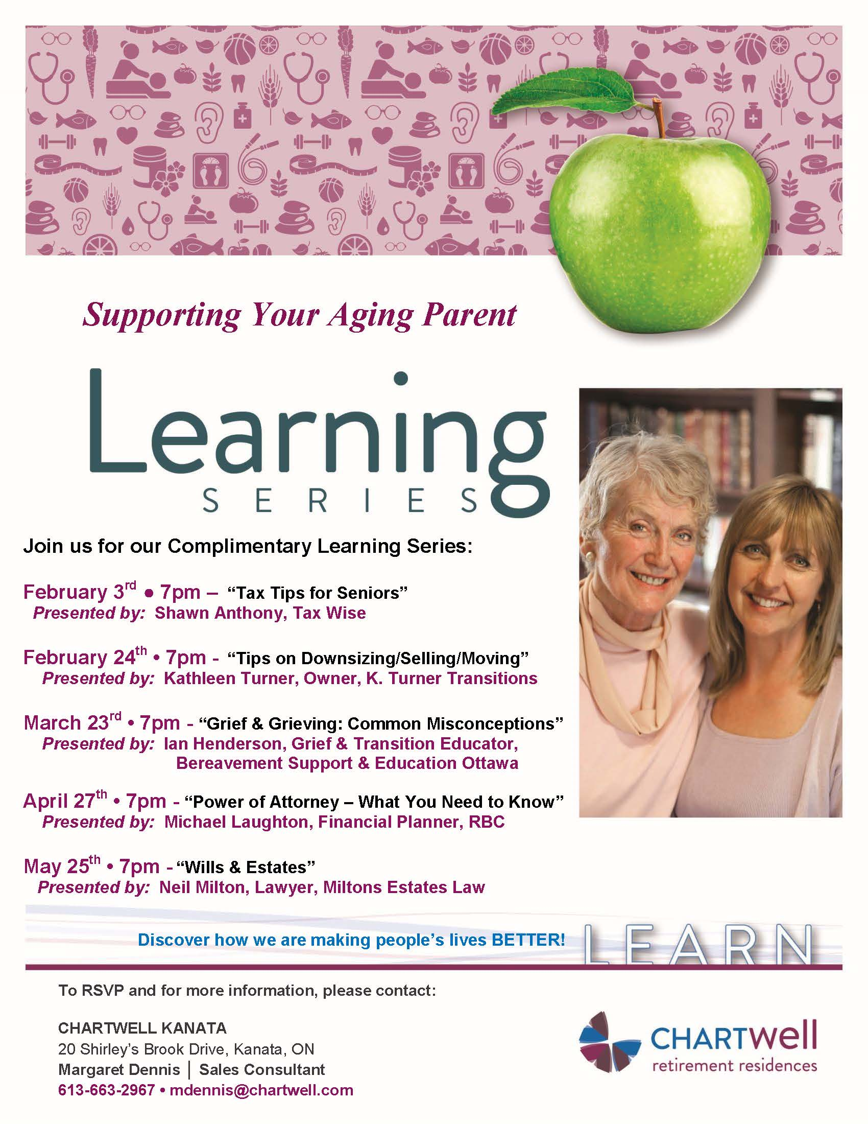 Kathy spoke to a capacity crowd at Chartwell Kanata Retirement Residence on Monday February 29 2016 for the Learning Series- Supporting Your Aging Parent. Very well received and great participation with the inquisitive group that attended.